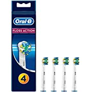 Oral-B Genuine FlossAction Replacement White Toothbrush Heads, Refills for Electric Toothbrush, MicroPulse Bristles for Deep Cleaning Between Teeth, Pack of 4