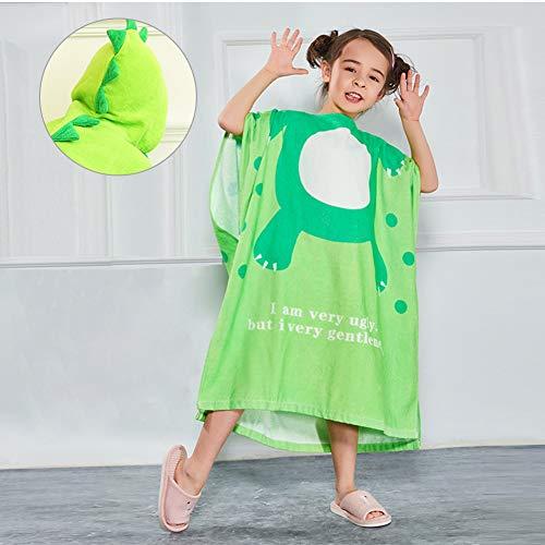 ZZUU Peignoir à Capuche pour Enfants - Mignon Animal Peignoir en Coton Enfant Plage Capuche Serviette,Certifié sans Produits Chimiques,Green,L