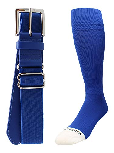 Pro Line Baseball Socks and Belt Combo (Royal, Medium)