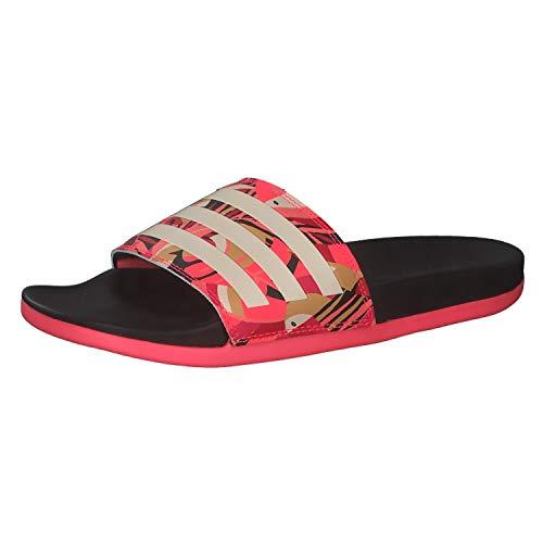 adidas Womens Adilette Comfort Running Shoe, CBLACK/Linen/SIGPNK,38 EU
