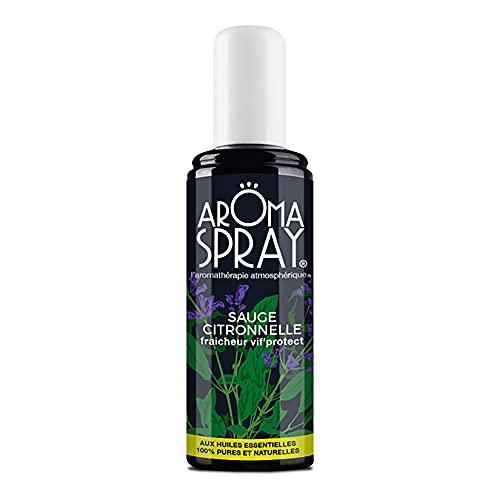 AROMA SPRAY - Spray d'Ambiance - Aromathérapie - Sauge Citronnelle - Fraîcheur vif'protect - Répulsif - Huiles Essentielles 100% pures et naturelles - 100 ml