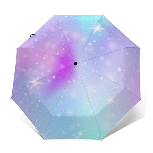 Paraguas Plegable Automático Impermeable Malla mágica del Arco Iris, Paraguas De Viaje Compacto A Prueba De Viento, Folding Umbrella, Dosel Reforzado, Mango Ergonómico
