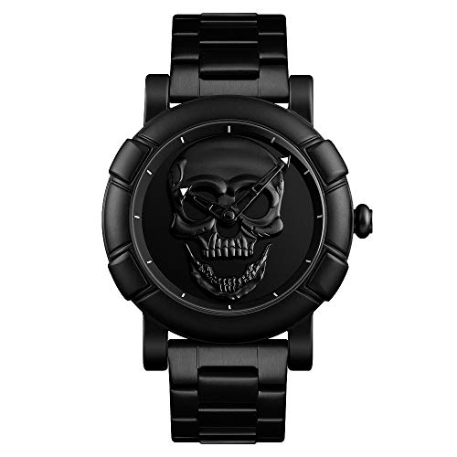 ALCADAN Watch,Mens Fashion Large Face Skull Watch Stylish Cool Stainless Steel Waterproof Watch for Men SK 9178 (Black)