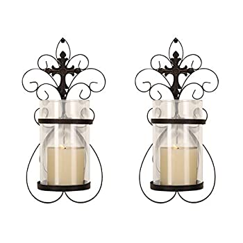 Asense Iron and Glass Vertical Wall Hanging Candle Holder Sconce Wall Decor for Living Room Bedroom  Set of 2