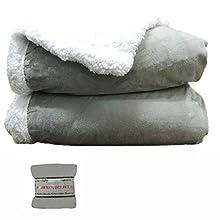 HTE Manta de Doble Cara para sofá y Cama de Tela Sherpa y Microfibra Caliente y Suave (Gris, 160 x 220 cm)