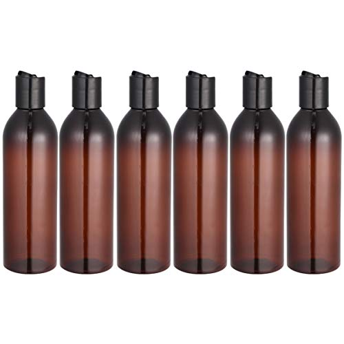 Minkissy 6 Piezas 250 Ml Botellas de Viaje Portátiles Botellas Recargables de Plástico Botella de Plástico con Tapa de Disco para Loción de Champú (Botella marrón)