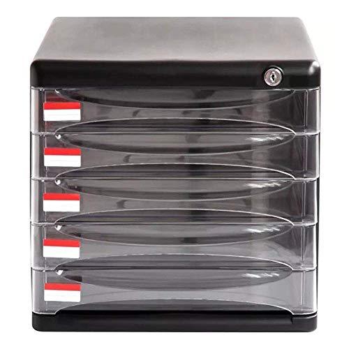 Schedari, archiviazione di file Governo del cassetto del Governo 5 strati Office Desktop Storage Box con serratura dati cassetto classificatore Armadi piatti Armadi file (Colore: Nero, Dimensioni: 36x