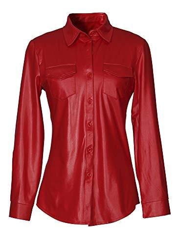 Steampunk Punk Estilo Manga Larga PU Piel Sintética Cuero del Faux Bolsillos Botones Abotonada Delantera Bajo de Curvado Blouse Blusón Blusa Shirt Camisa Top Rojo XL