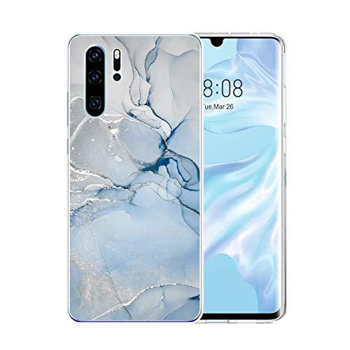 Handyhülle für Huawei P30 Pro Hülle Transparent Weich TPU Silikon Anti-Fingerabdruck Ultra Dünn Handyhülle Anti-Gelb Stoßfest Bumper Marmor Blume Design Case Cover Hülle Für Huawei P30 Pro (Weiß)