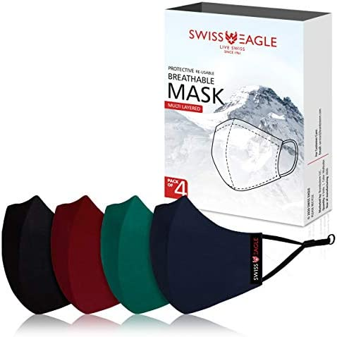 Swiss Eagle MULTICOLOUR Cotton Respirator 6 Layer Reusable Outdoor Face Mask PACK OF 4 Black product image
