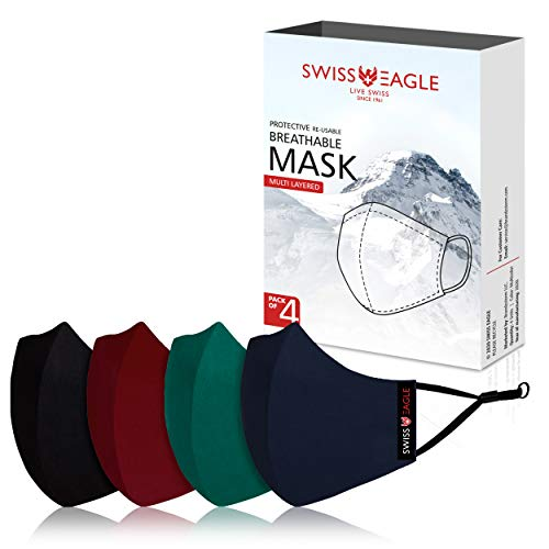 Swiss Eagle MULTICOLOUR Cotton Respirator 6 Layer Reusable Outdoor Face Mask (PACK OF 4) (Black Maroon Green Navy)