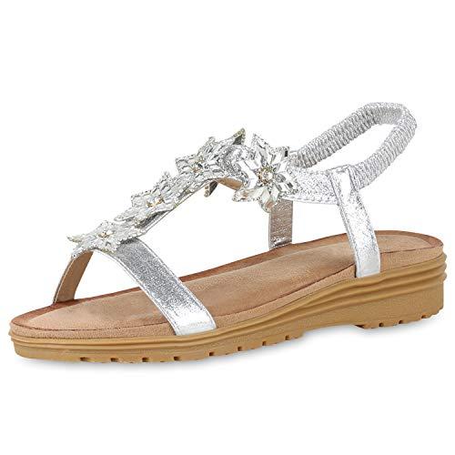 SCARPE VITA Damen Keilsandaletten Metallic Sandaletten Keilabsatz Schuhe Strass Sandalen Sommerschuhe Wedges Glitzer 181617 Silber 40