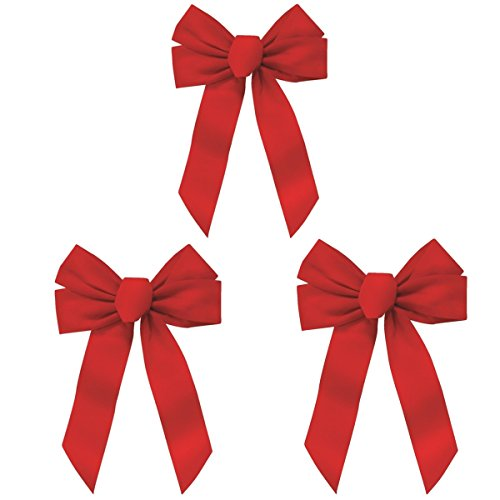 Rocky Mountain Goods Red Bow - Christmas Wreath Bow - Great for Large Gifts - Indoor/Outdoor use - Hand Tied in USA - Waterproof Velvet - Attachment tie Included for Easy Hanging (12-Inch 3 Pack)