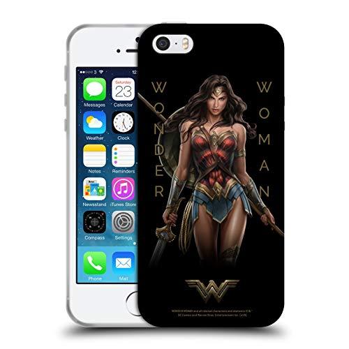 Head Case Designs Licenza Ufficiale Wonder Woman Movie Tipografia Arte Personaggi Cover in Morbido Gel Compatibile con Apple iPhone 5 / iPhone 5s / iPhone SE 2016