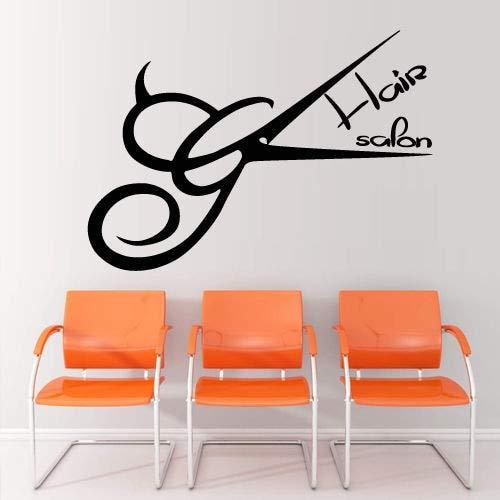 Haarschere Friseursalon Aufkleber Friseur Aufkleber Barber Shop Poster Vinyl Wandtattoos Dekor Wandgemälde Friseursalon 56 * 72cm