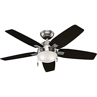 Hunter 59212 Antero LED Indoor Brushed Nickel Ceiling Fan with Light 46 in