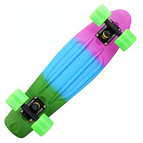 Colorido Arco Iris Patineta Completa Retro Niña Niño Crucero Mini Longboard Completo Skate Tabla Larga De Pescado Skate De La Rueda,Multicolor b