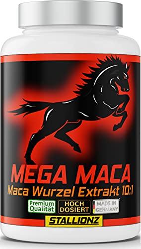 Stallionz MEGA MACA extra stark + hochdosiert - Maca Wurzel Extrakt 10:1, 180 Kapseln mit 11.800 mg Maca Wurzel Pulver pro Tagesdosis* 1 Dose (1x127,8g) greif zu - und starte durch mit Stallionz!