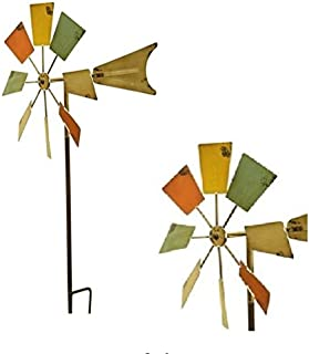 7Towns 53 in. High Pole Eco-Friendly Windmill Mole Chaser Repellent and Decor Stake Outdoor Metal Windmill Garden Stake Weather Resistant