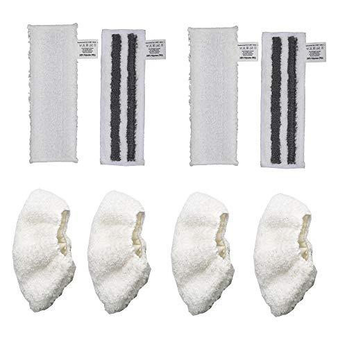 DEYF 2 weißes Mikrofaser-Bodentuch-Set + 2 graues Mikrofaser-Schleifboden-Tuch-Set + 4 Mikrofaser-Stoffbezug für Kärcher EasyFix SC2 SC3 SC4 SC5-Bodendüse