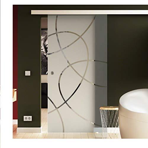Glazen schuifdeur, schuifdeur, glazen deur, ellipsendesign, 775 x 2050 mm, complete set ESG-schuifdeuren, glazen schuifdeur, zweefdeur, schuifdeur, schuifdeursysteem, hangsysteem, glazen schuifdeur op wieltjes