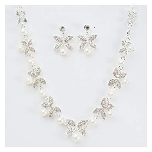 DSJTCH Simple Pearl Flower Diamond Necklace Novia Estacionado Collar Ear Anillo Joyería Joyería (Color : Silver)