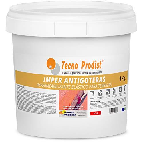 IMPER ANTIGOTERAS de Tecno Prodist - (1 Kg) ROJO Pintura Impermeabilizante elástica para Terrazas (A Rodillo o brocha)