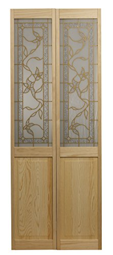 LTL Home Products 861730 Giverny Half Glass Bifold Interior Solid Wood Door, 36'X80', Unfinished