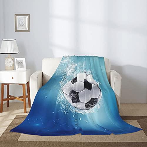 Manta de fútbol con diseño de fútbol de franela de franela de microfibra, de lujo, ligera, acogedora, para sofá cama, cálida manta de aire acondicionado, 203 x 152 cm