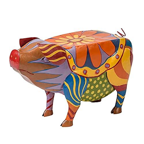 dfdfd Mesa auxiliar de cerdo Patio multicolor de arte popular Patio Muebles de Animal Exterior Mesa alta Estatuas de Resina Mesa auxiliar Esculturas Artesanía para Jardín Paisaje (S Pig)