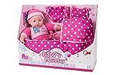 TOINSA Muñeco Bebe con capazo y Sonidos/Juguete blandito para niñas y niños a...