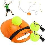 Fostoy Entrenador de Tenis, Equipo de Entrenador de Tenis Profesional con Elástica Goma y 3 Pelotas de Rebote para Entrenamiento Solo para Niños Adultos Principiantes, Naranja (Orange)