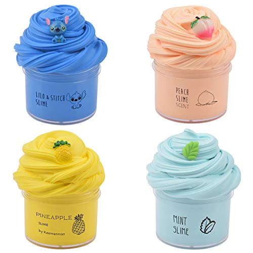4 Pack Butter Slime Kit with Blue Stitch, Peach, Pineapple and Mint Charms, Scented DIY Slime Supplies for Girls and Boys, Stress Relief Toy for Kids Education, Party Favor, Gift and Birthday