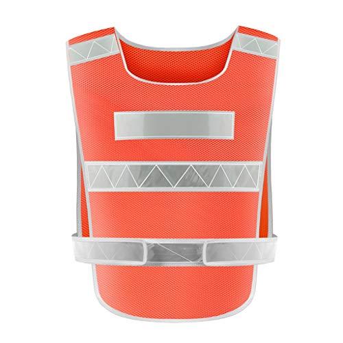 La seguridad Chaleco reflectante de seguridad Seguridad Alta visibilidad Construcción Trabajo Tráfico Bicicleta de seguridad reflectante Ropa uniforme Chaleco Ligero (Color : Orange)