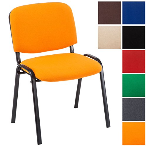CLP Silla de Visitas Ken en Tela I Silla de Conferencias Apilable I Silla de Reuniones con Capacidad máx. 120 kg I Color: Naranja