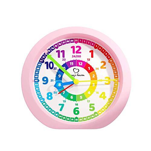 Honey's Heaven Kinderwecker ohne Ticken - für Jungen und Mädchen - Lernwecker Lernuhr Weckuhr Kinderuhr Quarzwecker Snooze Analog Quartz Wecker (pink)