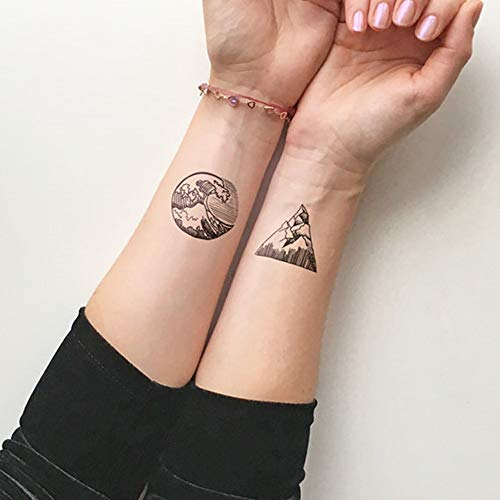 Set of 5 Waterproof Temporary Fake Tattoo Stickers Cool Ocean Wave Mountain