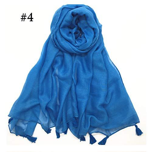 Daniel Secret Scarves Damen Hijab Schal mit Quaste, einfarbig, Maxi-Schal, für Damen, Muslimische Hijabs, 1 Stück, 31 Farben - - Einheitsgröße