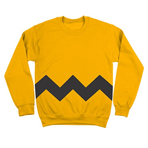 Funny Threads Outlet Charlie Brown Stripe Halloween Costume Cartoon Outfit Adult Mens Sweatshirt XX-Large Yellow
