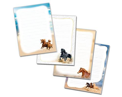 4 x Blöcke Schreibblock mit Kindermotiv Pferd / Pferd schwarz / drei Pferde / zwei Pferde (4 Blöcke mit je 25 Blätter in A4-Format)