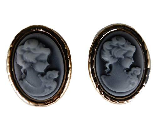 Ausgefallene Stecker Ohrringe Gemme Kamee Kunststoff blau Statement 9789