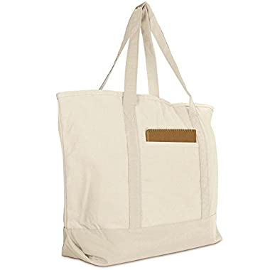 DALIX 22  Large Cotton Canvas Zippered Shopping Tote Grocery Bag in Natural