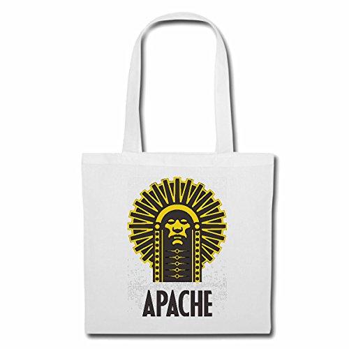 Tasche Umhängetasche Indianer HÄUPTLING Apache Indianer INDIANERGESICHT INDIANERSTAMM INDIANERSCHMUCK INDIANERPERÜCKE Einkaufstasche Schulbeutel Turnbeutel in Weiß