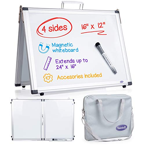 """Small Dry Erase White Board – 4 Sides Desktop Whiteboard Small White Board for Kids, 16""""x12"""" Tabletop Whiteboard Foldable with Cover Bag for Office Desk White Board Magnetic for Wall Mounting"""