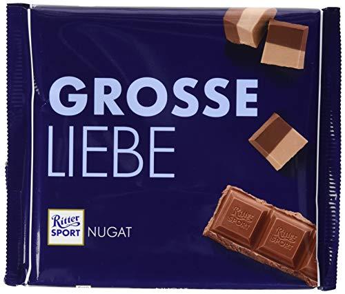 RITTER SPORT 250g Nugat (11 x 250 g), Große Tafel Schokolade mit cremig-feinem Nugat, Edelnugat umhüllt von feiner Vollmilchschokolade, Großtafel