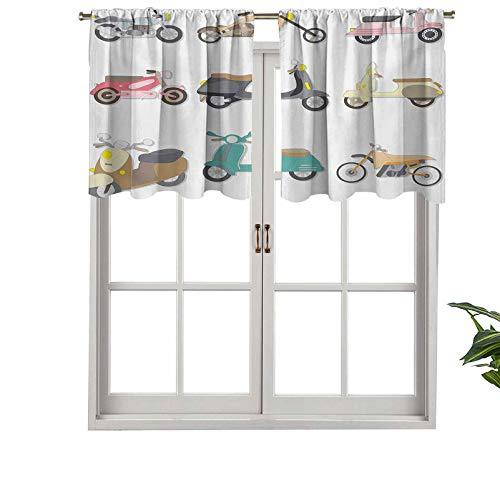 Hiiiman Cenefas de cortina para ventana con bolsillo para barra, una variedad de scooters en bonito diseño agradable, juego de 2, paneles de cortina cortos de 137 x 61 cm para ventana de cocina