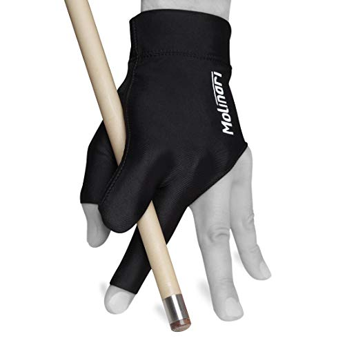 Molinari Billiard Glove - for Left Hand (Black, Regular (One Size fits Most))