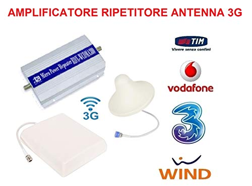 DETECTIVESHOPPING Kit Amplificatore RIPETITORE Segnale gsm UMTS 3G Antenna Tim Wind VODAFONE Tre Universale MIGLIORA AMPLIFICA POTENZIA Antenna Cavo COASSIALE 10 Metri
