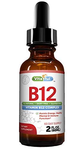 Vitaful Vitamin B12 Liquid Sublingual Drops, Vegan, Non-GMO, Sugar Free, Best Way to Instantly Boost Energy Levels and Speed Up Metabolism, 2 Oz
