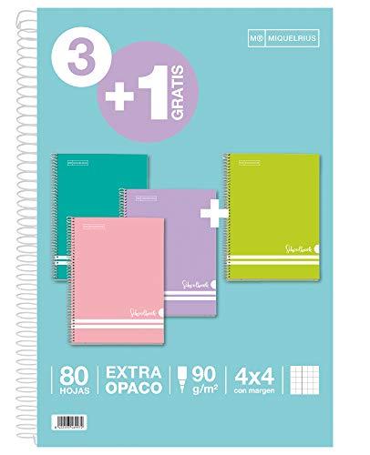 Miquel Rius Miquelrius - Pack Ahorro 3+1 - Cuaderno Folio Con Espiral, Cubierta De Cartón Rayado, Tamaño 215 X 310 Mm, 80 Hojas De 90 G / M2, Cuadrícula De 4 Mm Con Margen, Colores Pastel